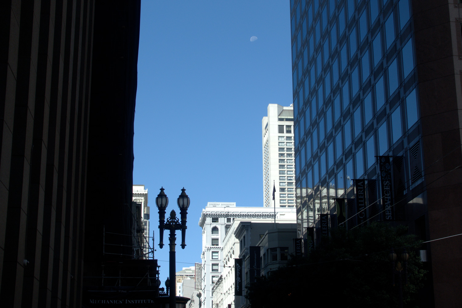 Downtown buildings with moon
